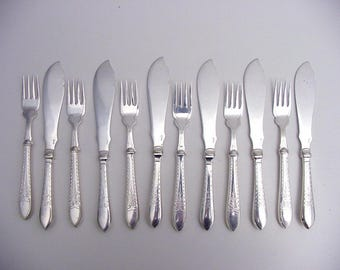 silver plated fish eaters, Denmark, 6 persons, 12 pieces, Absa
