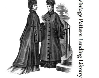 1876 Ladies Coat With Draped Sleeves - Reproduction Sewing Pattern #E0171
