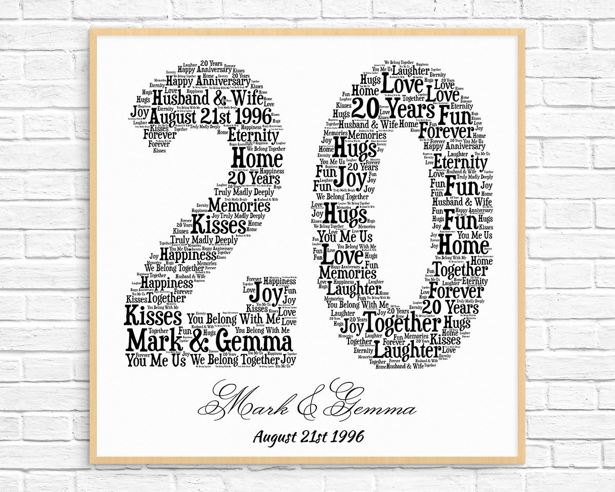 Personalized 20th Anniversary Gift Word Art Printable Art