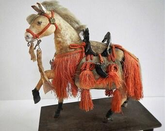 RARE Antique Japanese Samurai Warrior Horse - ceremonial full red dress/trappings - 1940s - glass eyes, World War II souvenir, Appaloosa