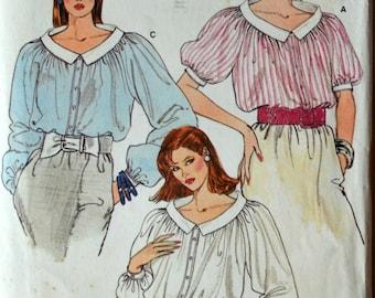 Uncut 1980s Vogue Vintage Sewing Pattern 8950, Size 8-10-12; Misses' Blouse