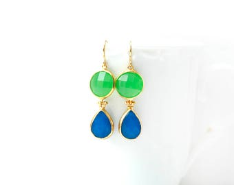 Apple Green Glass and Blue Jade Double Stone Hook Gold Plated Earrings