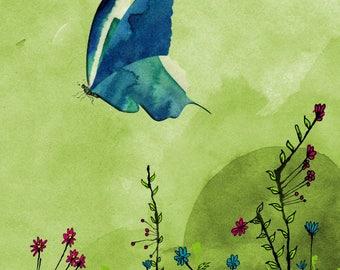 BLUE butterfly greeting card handmade 21cm x 15cm
