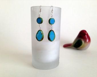 """Czech glass """"window"""" bead dangle earrings/sterling silver ear wires"""