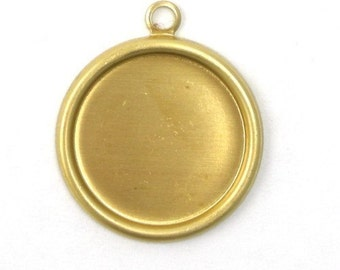 Rolled Edge Raw Brass Stampings 15mm Round Setting 1 Loop (6) FI150