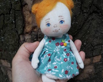 Little doll, Textile doll, decorative doll,collectible dolls, doll cotton, rag doll, art doll