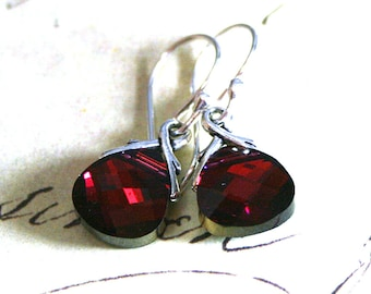 Cabernet Red Swarovski Crystal Briolette Earrings - Cranberry Red Earrings - Dark Ruby - Sterling Silver Earwires