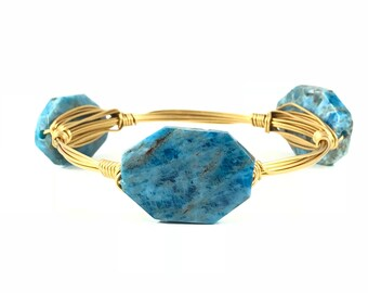 Blue Apetite Wire Wrapped Bangles - Wire Jewelry - Gemstone Bracelet - Mother's Day Gift - Stacking Bracelets - Courtney And Courtnie