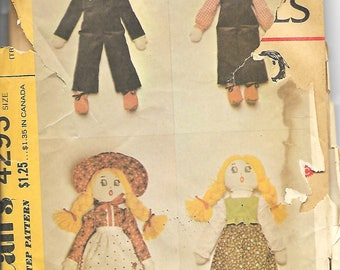 "McCall's 4293 20"" Boy And Girl Rag Dolls Sewing Pattern, Vintage 1970's"