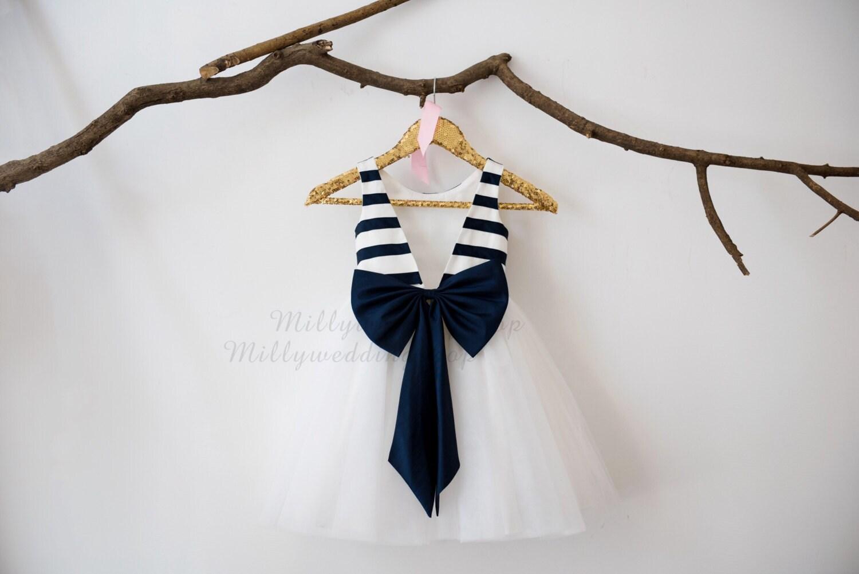 Ivory navy blue taffeta stripe v back flower girl dress wedding ivory navy blue taffeta stripe v back flower girl dress wedding bridesmaid dress m0033 mightylinksfo