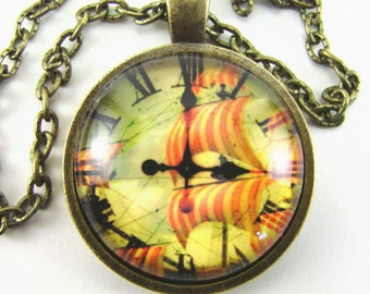 Men's STEAMPUNK SQUARE-RIGGER Clock Necklace  Catch a strange tide with full sails  Past time tall ships technology   Wind sea ocean