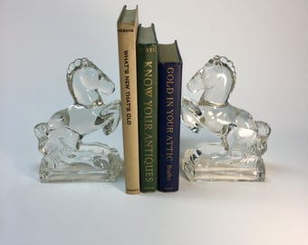 SALE- Glass rearing horse bookends by L.E. Smith Glass Company
