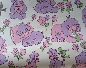Kitsch nursery wallpaper wallcovering / vinyl / pink and purple elephant lion monkey hippo / 1960 / sold by roll / mid century / Waldec