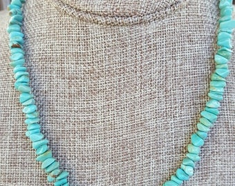 Green Turquoise Nuggets and Sterling Silver Necklace, Turquoise Nugget Beaded Necklace, Turquoise and Sterling Silver Gemstone Necklace