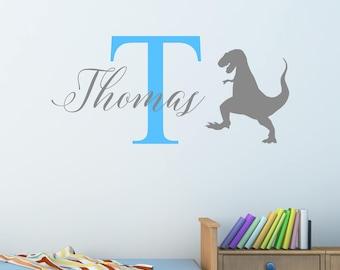 Personalised Dinosaur T-Rex Wall Sticker Wall Decal Childrens Kids Nursery Bedroom Playroom Vinyl