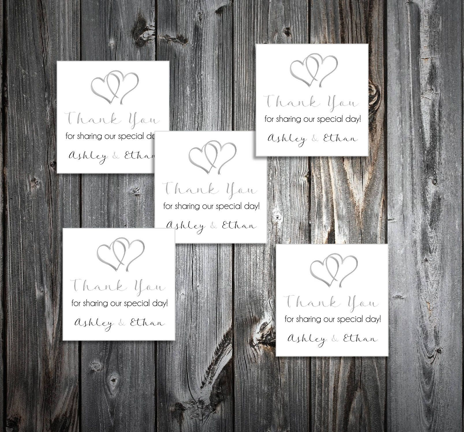 100 Hearts Wedding Favor Stickers. Personalized printed square ...