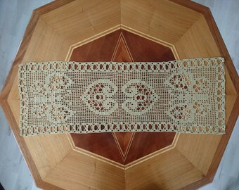 Gold Doilies, crocheted with butterflies and hearts, netting, gold, table runners,