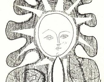 PABLO PICASSO 1956 Lithograph +COA. Françoise en Soleil 1946 Print Rare Picasso Art. Unique Gift Idea of Extremely Rare Art. Free Shipping