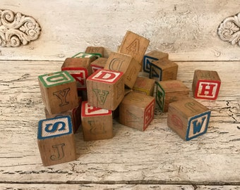 Collection of 26 Vintage Alphabet Blocks