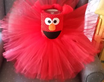Birthday Elmo Sesame Street Costume Red Tutu Dress Girl Halloween Party Birthday