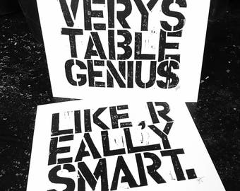 2 LINOCUT prints - Like Really Smart & Very Stable Genius - Trump quote 8x10 letterpress