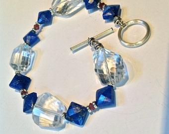 Bracelet of Royal Blue Lapis Lazuli Crystal Clear Quartz Red Swarovski Crystals Sterling Silver