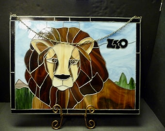 Stained Glass LEO Vintage wall hanging- soldered metal edging