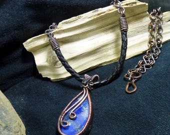 Blue Lapis Lazuli Wire Wrapped Copper Stone Necklace 7th Wedding Anniversary Gift