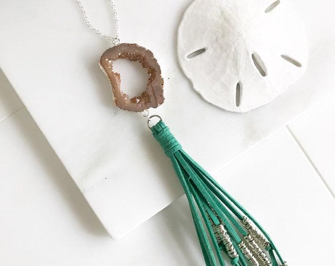 Boho Tassel Necklace. Turquoise and Peach Tassel Necklace in Silver. Long Turquoise Slice Tassel Necklace. Boho Jewelry. Unique Gift Idea.