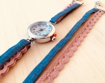 Shows plain denim color old pink lace
