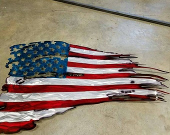 Aluminum Tattered American Flag