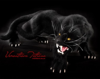Needle Felted Wool Animal Sculpture Black Jaguar (Black Panther): Noir