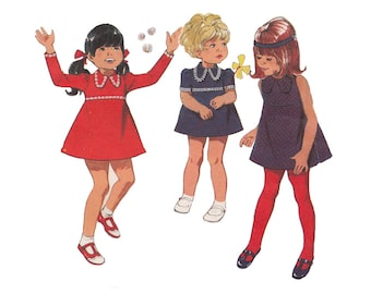 Vintage 1970s Toddlers Flared Mini Dress Raised Waist & Dog Ear Collar Style 2799 Girls Size 2 Sleeve Options Childrens Sewing Pattern
