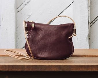 Leather Zip Crossbody Purse: The Luna Crossbody in Burgundy Leather by Awl Snap