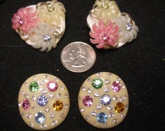 2 Pr of Acryllic and Rhinestone Earrings(1055)