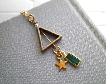 Triangle Charm Necklace - Geometric Shape Triangle Star & Rectangle Charms - Modern Bohemian Layering Jewelry Cosmic Gypsy Boho Gift For Her