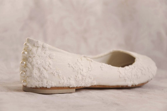 Wedding shoes lace wedding shoes flats ivory lace bridal flats