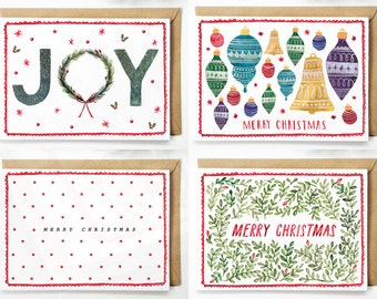 Mixed Christmas Card Set of Four