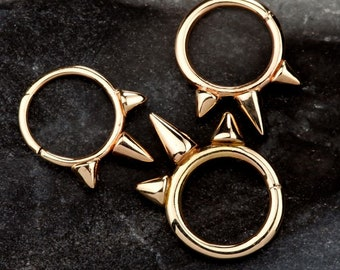 14K Gold Triple Spike Seamless Ring - Daith Cartilage Earring