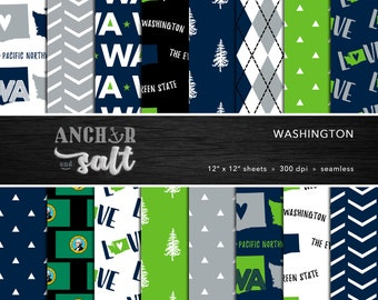 Washington Digital Paper Set -- Blue & Green, Evergreen State, Pacific Northwest, PNW, Scrapbook, Seamless -- Personal or Commercial Use