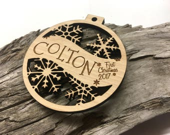 Colton - Any Name - Customizable Baby's First Christmas Ornament - Engraved Birch Wood Ornament