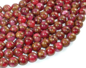 Mosaic Stone Beads, Red, 10mm Round Beads, 15.5 Inch, Full strand, Approx 38 beads, Hole 1 mm (327054016)