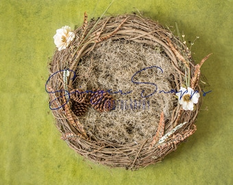 Nest with reindeer moss, magnolia and feather details