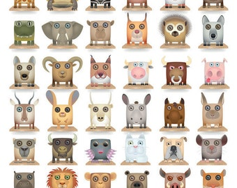Animal Head Cartoons - Ceramic Decals- Enamel Decal - Fusible Decal - Glass Fusing Decal ~ Waterslide Decal - 49580