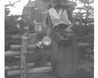 """Vintage Snapshot """"Taking Pictures"""" Kodak Hawkeye Camera Flash Attachment Cute Teen Girl On Vacation 1950's Black & White Old Photo"""