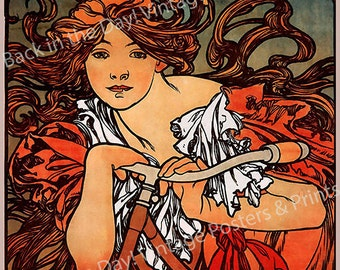 """Mucha, Art Nouveau, Vintage Reproduction Advertising Poster """"Cycles Perfecta"""" by Alphonse Mucha c1897"""