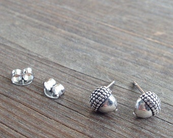 Acorn Sterling Silver Stud Earrings / Nut Fall Harvest Post Nature Seed Chestnut Autumn