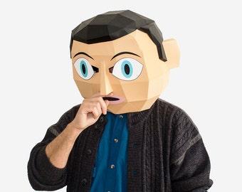 Make your own Frank Sidebottom Mask, Hollywood Movie, Frank Head, Instant download, DIY Paper Masks, Printable Mask, DIY New Year Mask