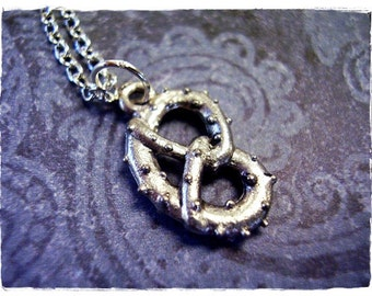 Silver Pretzel Necklace - Antique Pewter Pretzel Charm on a Delicate Silver Plated Cable Chain or Charm Only