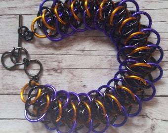 Purple/orange/black viperscale chainmaille bracelet